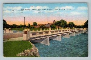 Wichita KS High School North Little Arkansas River Bridge Linen Kansas Postcard