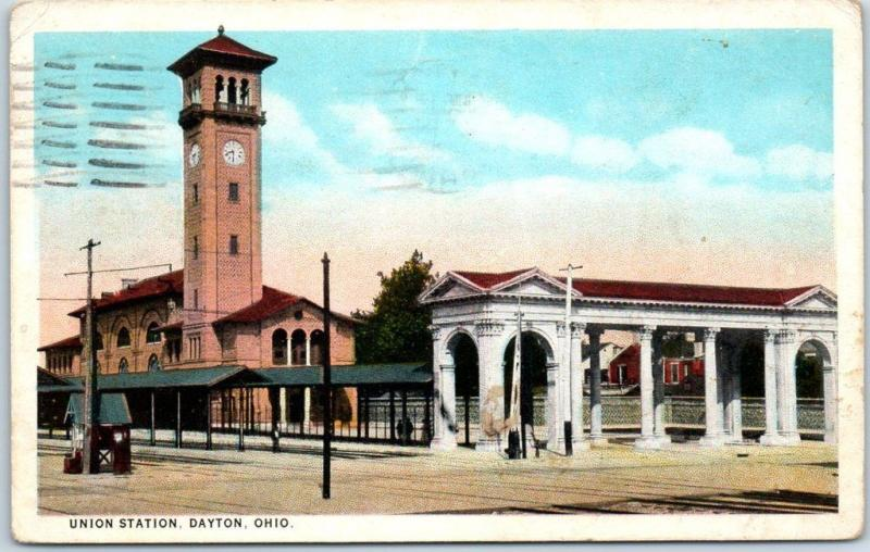 Dayton, Ohio Postcard UNION STATION Railroad Train Depot Street View 1928 Cancel