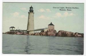Graves Lighthouse Boston Harbor Massachusetts 1910c postcard