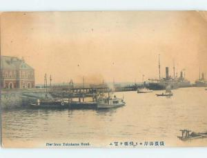Old Postcard BOATS BY THE PIER Yokohama Japan F5609