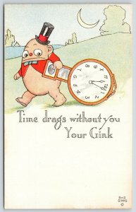 George Brill~Comic Pun~Time Drags W/O You~Gink Totes Heavy Clock~Crescent Mooon