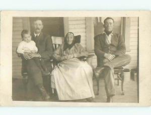 Old rppc GROUP OF PEOPLE Great Postcard AB1421