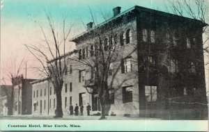 Blue Earth Minnesota~Constans Hotel~4 Men Outside~Demolished 1988~1912 Postcard