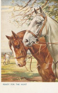 Florence E. Valter. Horses. Ready for the hunt Vintage Valentine PC