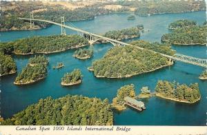 Canadian Span 1000 Islands International Bridge aerial view Canada Postcard