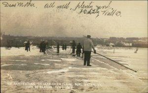 Burlington VT Ice Harvesting Occupation 1907 Real Photo Postcard - Barker