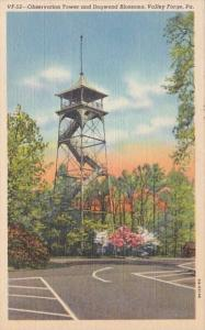 Pennsylvania Valley Forge Observation Tower and Dogwood Blossoms Curteich