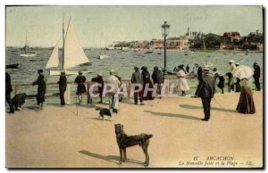 Old Postcard Arcachon New Jetee and the Beach