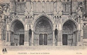 France Chartres Portail Sud de la Cathedrale, Cathedral Front view