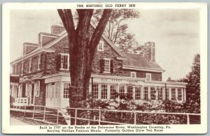 WASHINGTON CROSSING PA BUCKS COUNTY HISTORIC OLD FERRY INN ANTIQUE POSTCARD