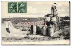 Old Postcard Marshes Salants Loading TOP salt