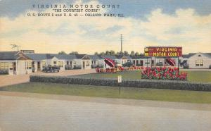 Orland Park Illinois 1940-50s Linen Postcard Virginia Motor Court Roadside Motel