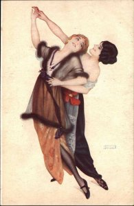 Raphael Kirchner Beautiful Sexy Women Dance Lesbian Gay c1910 Postcard