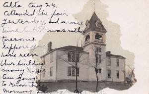 Alta Iowa~Mamie's School Closeup~Attended Fair but Tiresome~Vignette~1907 RPPC