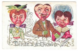 Fantasy Valentine Heart Face Heads Threes a Crowd Postcard