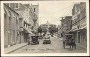 bahamas, NASSAU, George Street, Car, Charlotte Hotel (1940s) RPPC