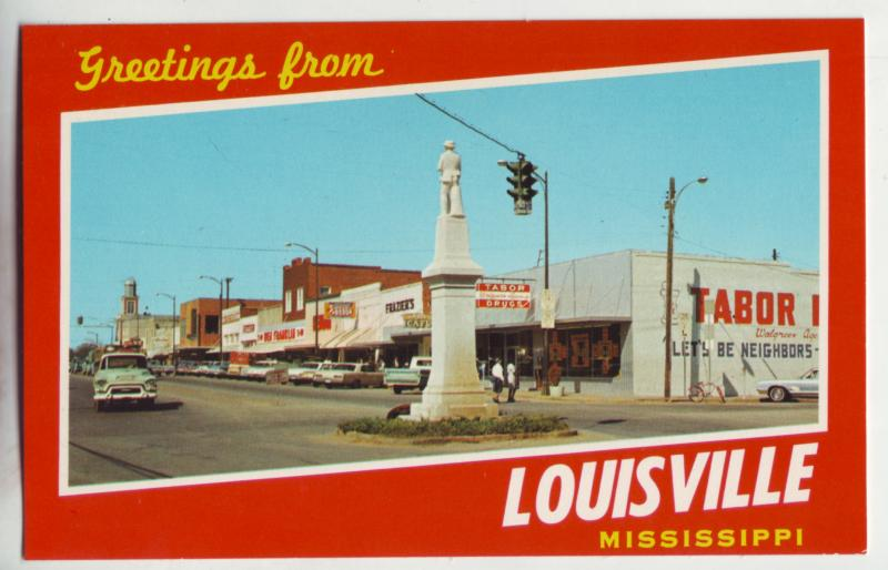 P1102 vintage unused old cars st signs etc greetings from louisville mississippi