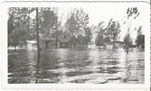 Epic Flood 1950's Flooded Homes and Streets from Real Photograph Vintage
