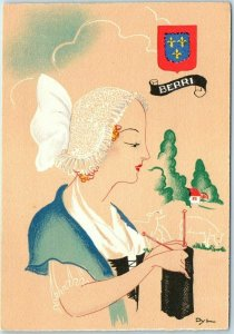 Vintage Artist-Signed DYL Postcard Women of France BERRI #1206-X Unused