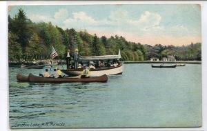 Canoeing Motor Launch Canobie Lake Mineola New Hampshire 1910s postcard