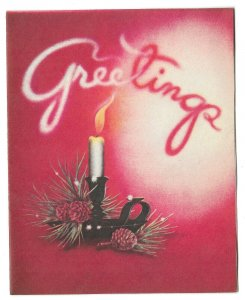 VINTAGE 1940s WWII ERA Christmas Greeting Holiday Card CANDLE & SMOKE Volland