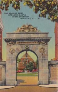 Rhode Island Providence War Memorial Gates Into Lower Campus Brown University...