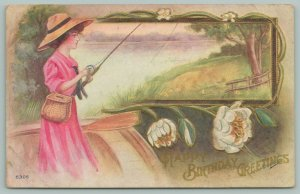 Artist Reynolds~Lovely Lady In Pink Dress Fishes Through Portal In Lake~Hat~1910