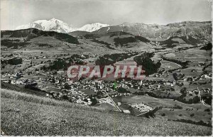 Modern Postcard Megeve Haute Savoie General view and the white mount