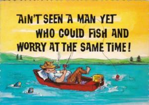 Fishing Humour Man Sleeping In Boat No Worries