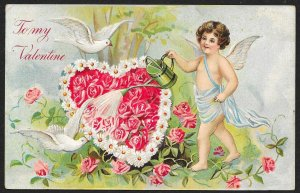 To My Valentine Cupid Watering Rose Heart & Doves Used c1910