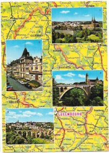 Luxembourg Map and City Sites.  Unused.
