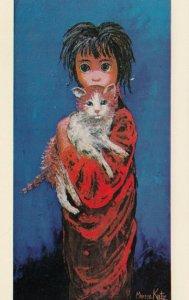 AS: Morris Katz, 1964; Girl with Big Eyes holding cat