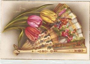 C.Vives. Fan and tulips Nice spanish postcard 1950s