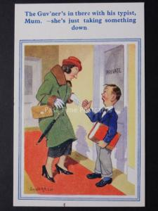 Donald McGill Comic Postcard: THE GUVNERS IN THERE WITH HIS TYPIST MUM No.61