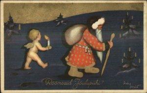 Christmas - Art Deco Santa Claus & Cherub Spotted Coat Estonian? Postcard