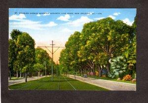 LA St Charles Ave Avenue Oak Trees New Orleans Louisiana Postcard