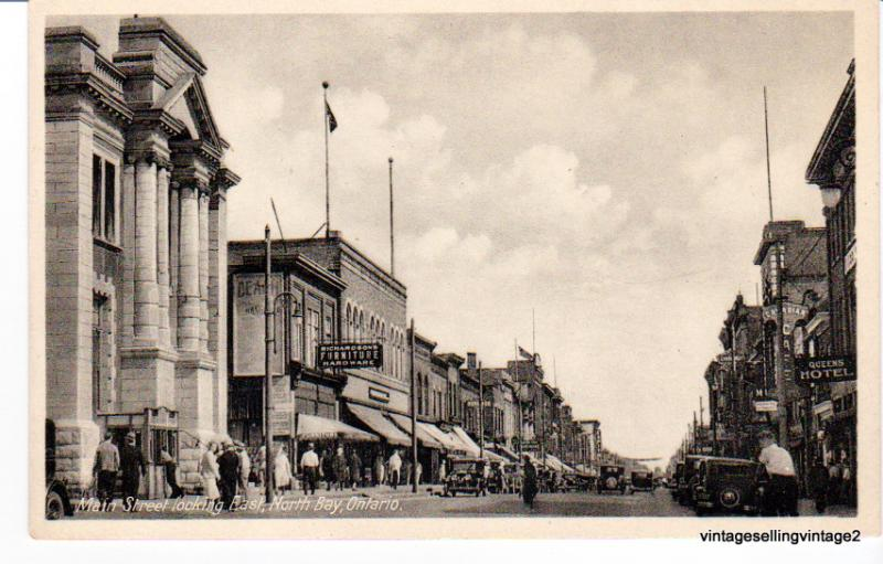 RPPC Main Street looking east, North Bay, Ontario, Canada - Int'l Fine Arts