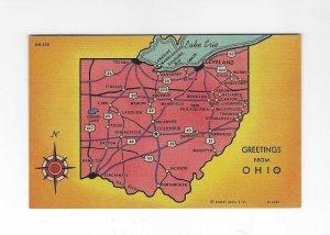 Vtg 40's Greetings from Ohio Minsky Bros. Curteich Postcard