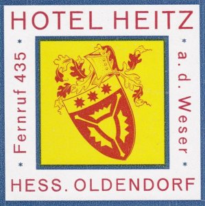Germany Oldendorf Hotel Heitz Vintage Luggage Label sk2878