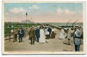 Boardwalk Crowd Brighton Beach New York City 1920s postcard