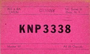 CB QSL - KNP3338, Peg & Ira Catlin, Elmira NY