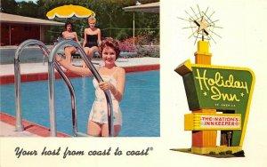 Vicksburg Mississippi 1960s Postcard Holiday Inn Motel Swimming Pool