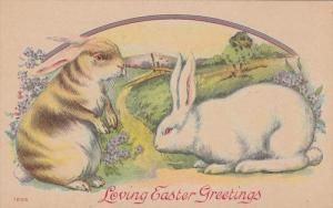 Loving Easter Greetings, Brown rabbit and white rabbit, Country Scene, Forget...