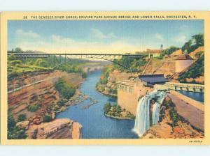 Unused Linen BRIDGE SCENE Rochester New York NY H8179