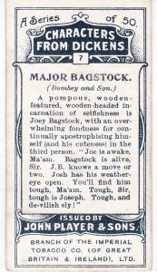 Cigarette Cards Players Characters From Dickens No 7 Major Bagstock