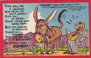 Humour Reg Manning Travel Card Howdy From Land Of The Littel Burro 1943 Curteich
