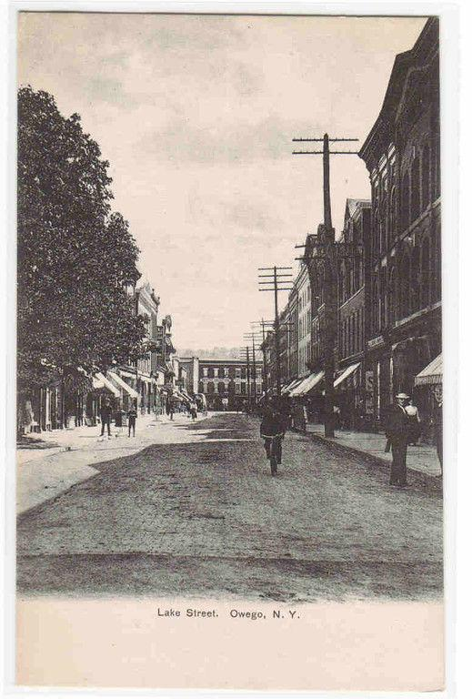 Lake Street Bicycle Cyclist Owego New York 1905c postcard