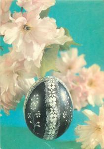 Penciled Easter egg postcard & flowers