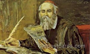 Artist Signed Morris Katz Judaic, Judaica, Postcard Post Card The Historian u...