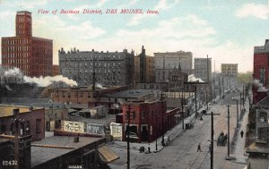 View of Business District, Des Moines, Iowa, Early Postcard, Unused